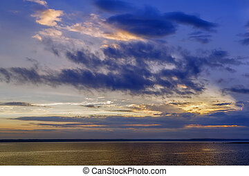 Sunset on Ladoga lake, Russia - Sunset on Ladoga lake in...