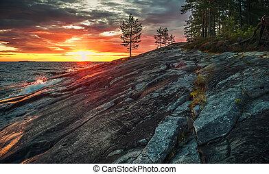 Sunset on Lake Onega in Karelia