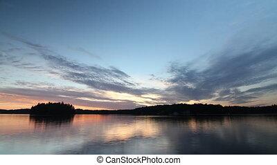 Sunset on Lake Rosseau. Time lapse.