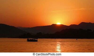 sunset on lake - Udaipur India