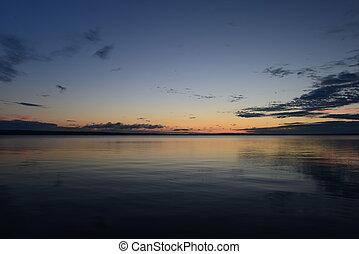 Sunset on lake water surface
