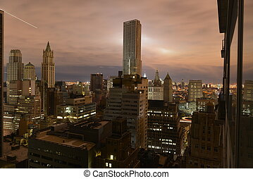 Sunset on Lower Manhattan following Power Outage. - Sunset ...