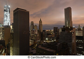 Sunset on Lower Manhattan following Power Outage. - Sunset...