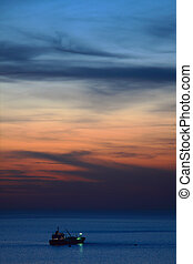 Sunset on Mediterranean Sea.