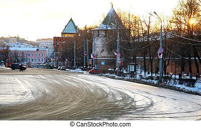 Sunset on Minin square on background Kremlin Nizhny Novgorod Russia