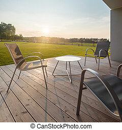 Sunset on modern patio