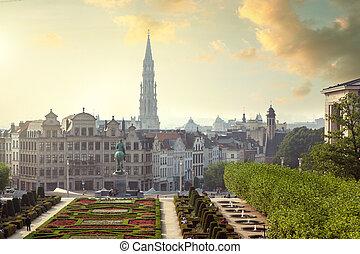 Monts des Arts in Brussels, Belgium - Sunset on Monts des ...