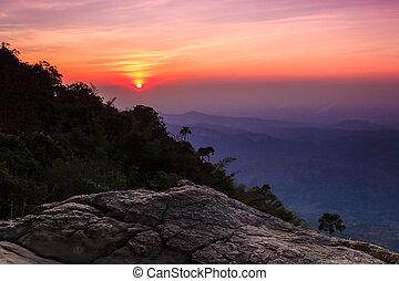 sunset on mountain