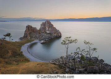 Sunset on Olkhon Island at Cape Khoboy.