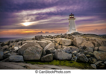 Peggy's Cove - Sunset on Peggy's Cove Lighthouse Nova Scotia...
