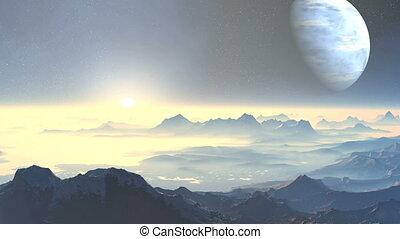 Sunset on planet aliens
