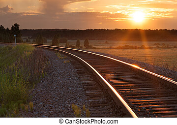 Sunset on railway