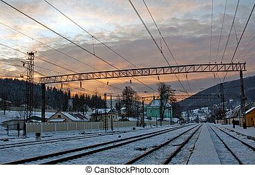Sunset on railway station