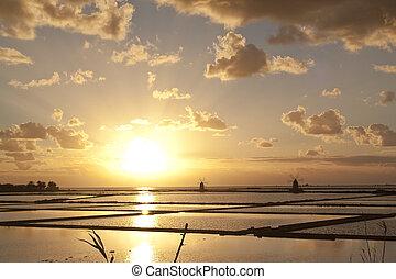 Sunset on saltern octies - Sunset on Stagnone saltern,...