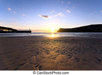 Sunset on Sandy Beach at Port Erin - Isle of Man