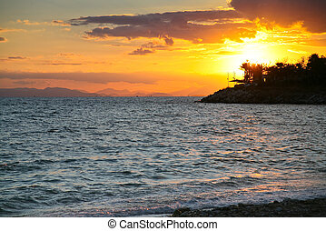 sunset on Saronic Gulf (Aegean Sea near Athens, Greece)
