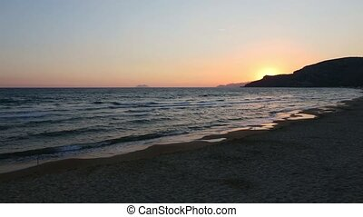 Sunset on sea beach - Beautiful landscape with tropical sea...