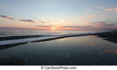Sunset on sea beach - Beautiful tropical sunset on the sea...