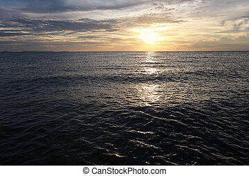 Sunset on sea in Thailand.
