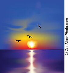 Sunset on sea with birds. Vector