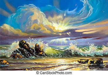 Sunset on seacoast