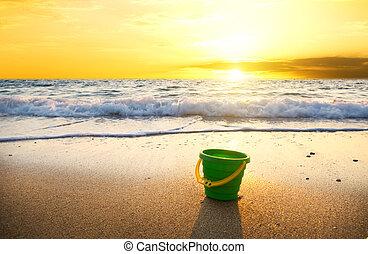 sunset on summer beach.