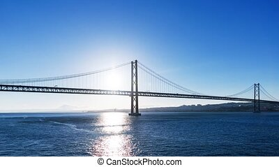 Sunset on the 25 de Abril Bridge in Lisbon, timelapse