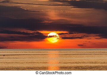 Sunset on the Adriatic sea near Porec in Croatia, Europe.