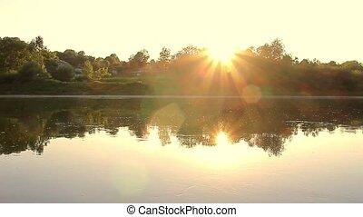 Sunset on the autumn river