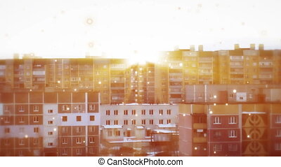 sunset on the background of high-rise residential buildings