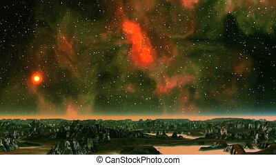 Sunset on the Background of the Beautiful Nebula