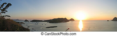 Sunset on the bay, Labuan Bajo, Flores, Indonesia, Big panorama