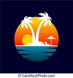 sunset on the beach badge logo