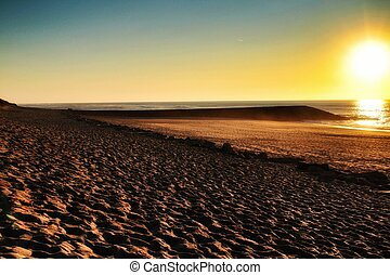 Sunset on the beach in Aveiro, Portugal