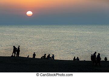 Sunset on the beach in Baku