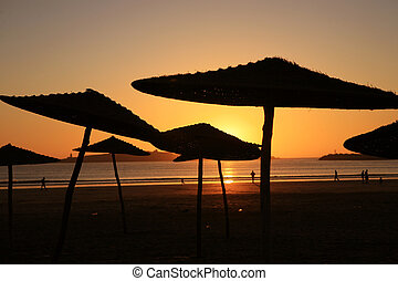 Sunset on the beach in Essaouria