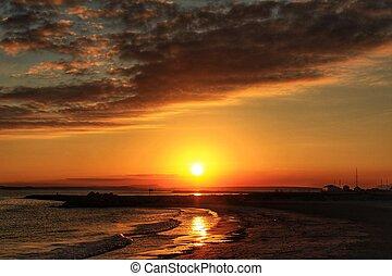 Sunset on the beach in Santa Pola, Alicante Spain