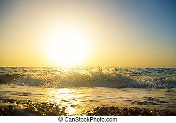 Sunset on the beach in summer.