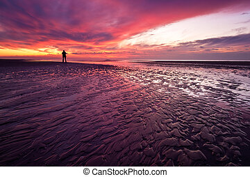 Sunset on the beach in the Netherlands