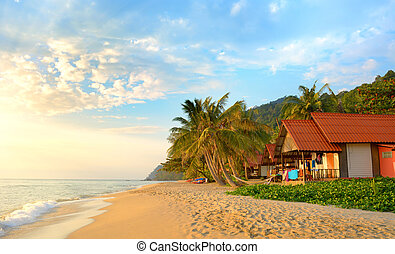 Sunset on the beach. Koh Chang, - Sunset on the beach. White...