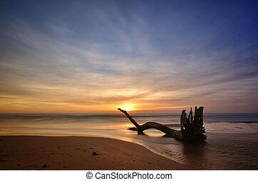 Sunset on the beach, long exposure