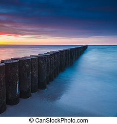 Sunset on the beach, long time exposure