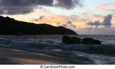 Sunset on the beach of Anse Lazio.