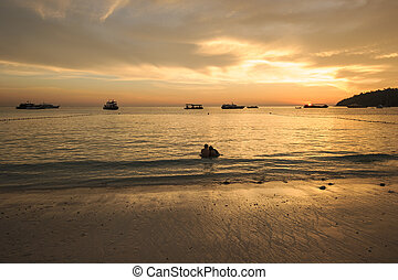 sunset on the beach of indian sea