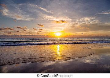 Sunset on the beach of Patong. Phuket Island. Thailand.