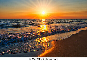 sunset on the beach sunrays