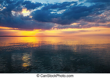 Sunset on the beach with beautiful sky. Composition of nature