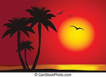 Sunset on the beach with palm silhouette,  vector