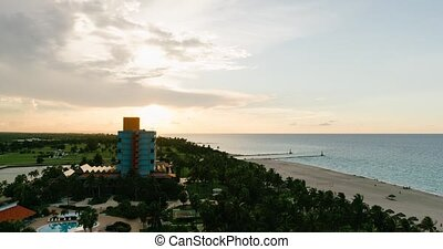 Sunset on the beaches of Cuba view from the roof to the hotel, the Atlantic Ocean and the beach Timelapse