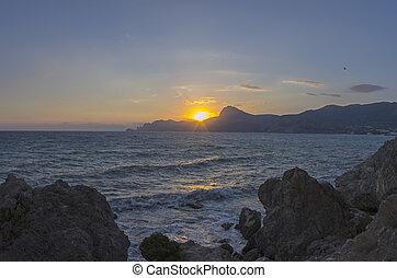 Sunset on the Black Sea. Crimea, September.